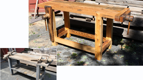 The before and after. One of the original top planks was re-used in the new top. The second original top plank was too rough, so it became the back stretcher, and strips that added thickness to the first plank. The original legs became the lower side rails and the end caps. The only added parts are the new legs to beef up the leg dimentions to 3in by 5in. and a second plank for the top.