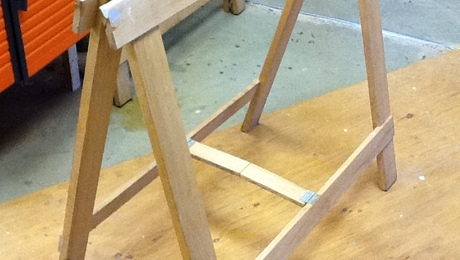 World's best sawhorse? It holds hundreds of pounds yet folds up and stows away.