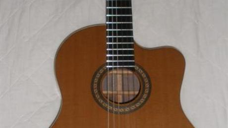 Nylon stringed double-top guitar.