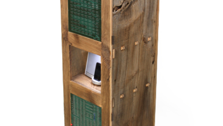 Art staffer John Tetreault built our first Furniture Lab project, a cool combo of weathered barn boards, traditional joinery, old computer circuit boards, and LED lights. He parks his Bose Ipod system inside.