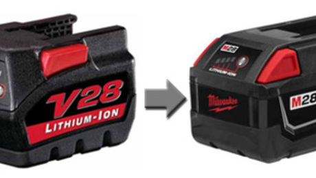 The original, ground breaking V28 lithium ion battery, next to its current incarnation -- the M28. The technology behind this battery is fueling Milwaukee Tool Corp's lawsuit against its competitors.