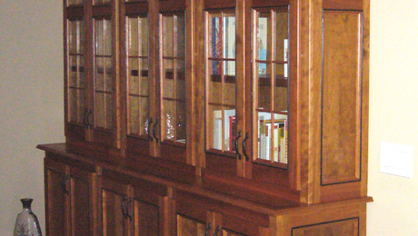 Three Section Book Case.  Cherry with Black Beading and Glass Doors