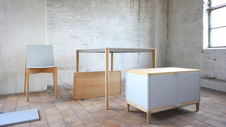 The complete MAG set, with table, chair, and cabinet, is held together with only simple mechanisms and magnets.