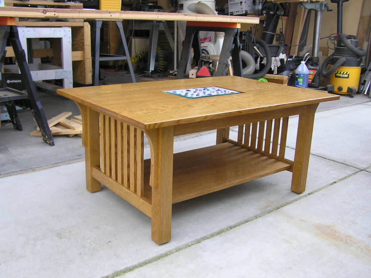Modified Craftsman Style Coffee Table With A Center Display Area.