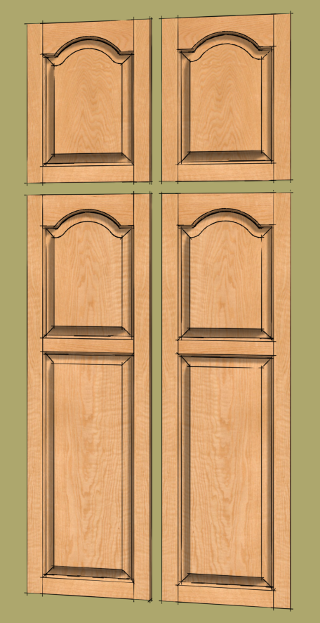 the other day a fellow asked about drawing frame and panel doors with arched or cathedral panels for a pantry cabinet he is designing