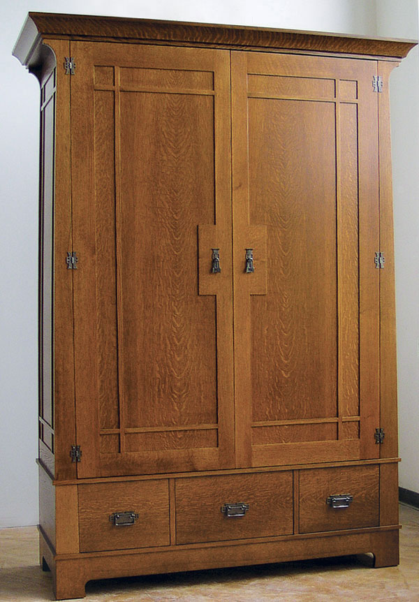 Craftsman style armoire finewoodworking for Wardrobe cabinet design woodworking plans