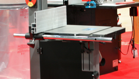Laguna's new 14-in. bandsaw has excellent fit, finish, and features for an $1,100 model. Missing from this show sample is the flexible worklight that bolts onto the saw.