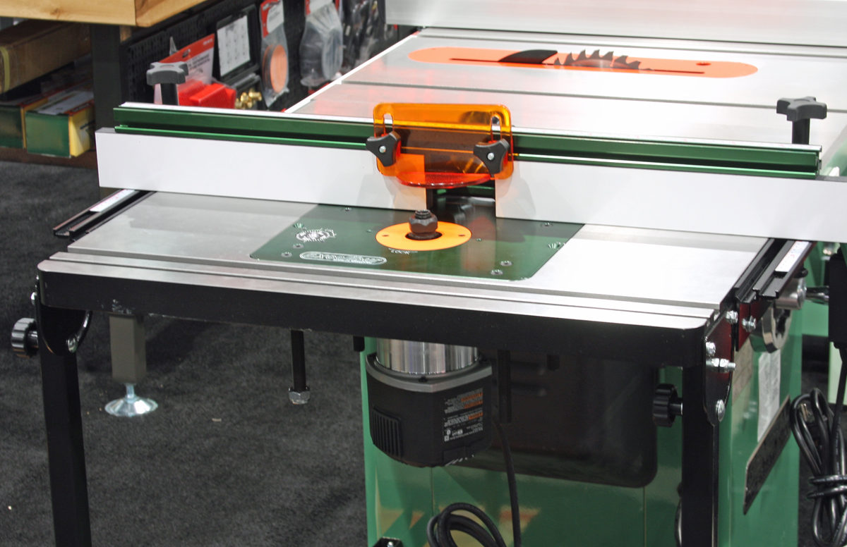 Awfs space saving router table makes no compromises finewoodworking excaliburs latest cast iron router table bolts to the edge of any cabinet saw offering big time features and accuracy without taking another inch of floor keyboard keysfo Image collections