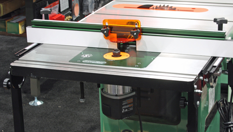 Excalibur's latest cast-iron router table bolts to the edge of any cabinet saw, offering big-time features and accuracy without taking another inch of floor space. Shown here with an Excalibur router lift, the basic system comes with an insert plate only.