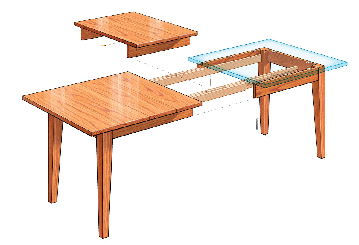 extension dining table  finewoodworking - dining table