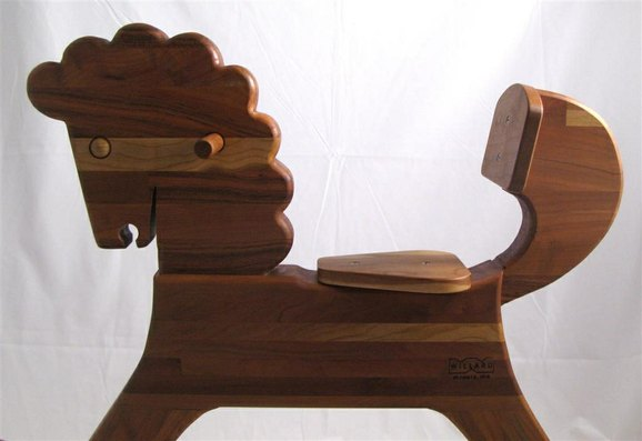 cherry rocking horse based on german toy design