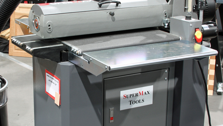 If you have a production cabinet shop, or you happen to work a lot with big slabs or shopsawn veneers, you should consider the SuperMax 25-50, which can sand a 49-in.-wide panel in two passes.