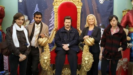 Nick Offerman plays Ron Swanson, seated uncomfortably on the throne, on the NBC Thursday-night comedy, Parks & Rec.