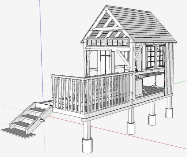 Showing off your sketchup inventory finewoodworking for Cruck frame house plans