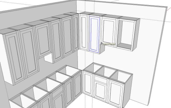 after placing the cabinets i created a layer called cabinets i selected all of the cabinets and in entity info i associated them with that cabinets - Sketchup Kitchen Design