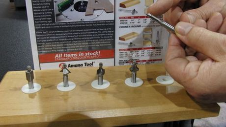 Delicate bits for delicate work. Profiles on standard router bits can be too large for small boxes, frames, and the like. These bits from Amana are just the right proportion.