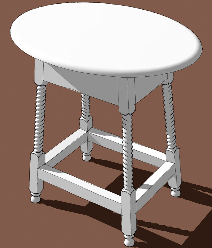 The Other Day A Reader Asked About How To Draw An Elliptical Table Top.  Coincidentally I Just Did A Drawing Of A Small Table With An Elliptical Top.