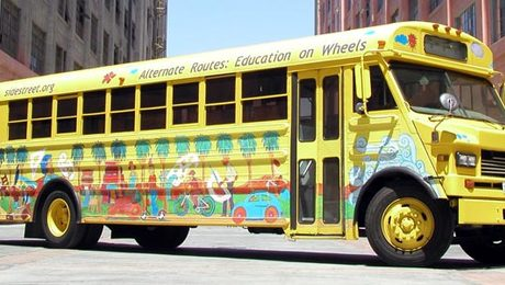 This former city transit bus has become a woodworking school for kids.
