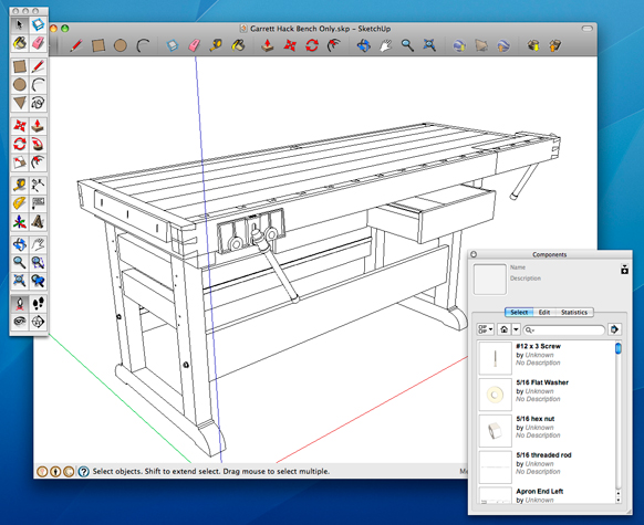 Screenshot Of Garrett Hacku0027s Workbench As Seen In The Free Design Software  SketchUp.