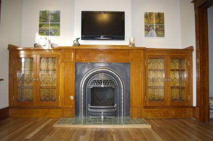 Bookcases & fireplace
