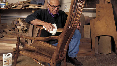 Sam Maloof working on one of his signature rocking chairs. The celebrated furniture maker died on May 21 at his home near Los Angeles.