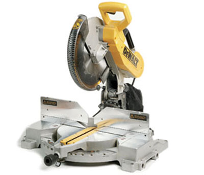 miter saw labeled. wrong way, right way: keep your hands away from the blade, wear ear and eye protection, wait for blade to stop spinning before raising miter saw labeled