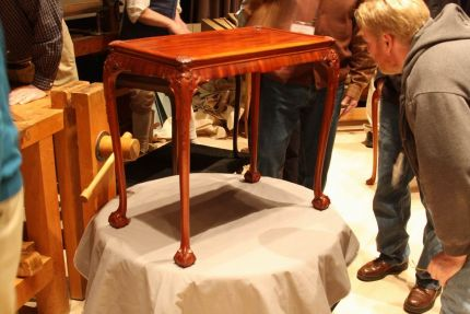 This tea table, from Williamsburgs collection, was made by local cabinetmaker Peter Scott in the 1700s.