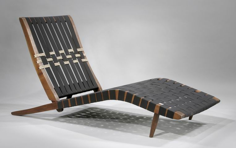 Lovely Long Chair, 1951. Black Walnut With Cotton Webbing And Sea Grass.