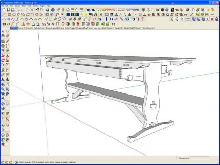 As I Always Do When Iu0027m Drawing, I Made Components Of Each Part And Copied  Them As Needed To Finish The Table Model.