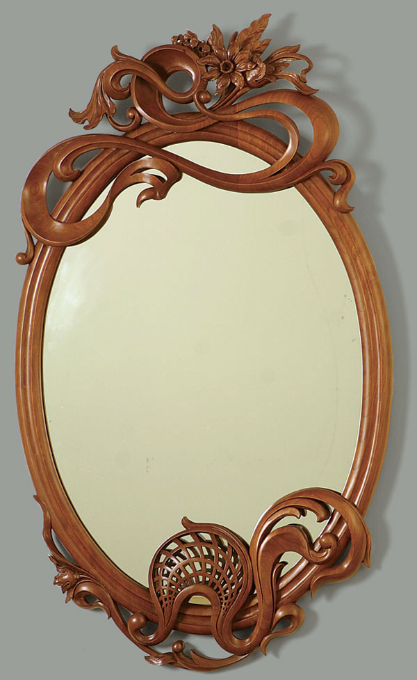art nouveau style carved mirror finewoodworking. Black Bedroom Furniture Sets. Home Design Ideas