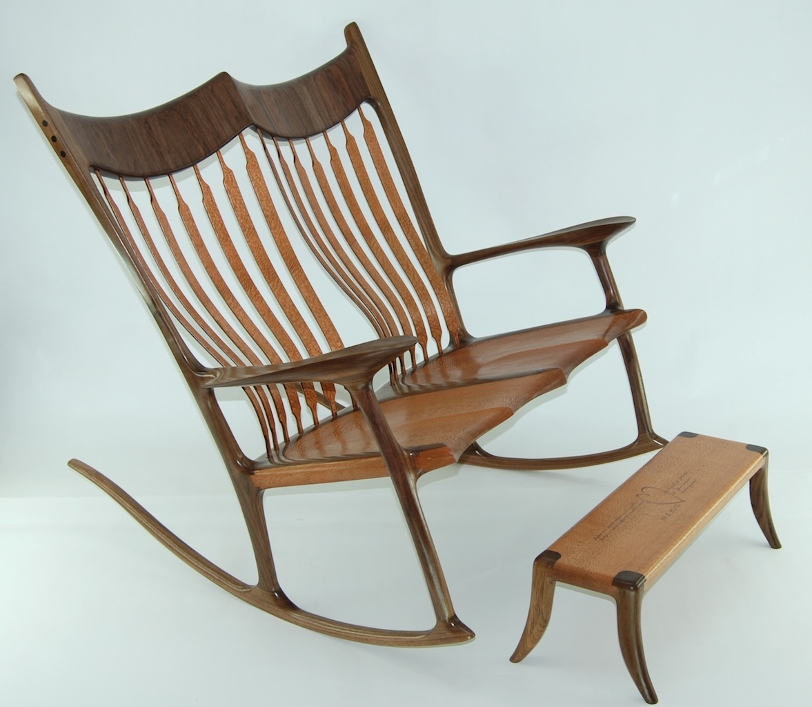 Custom Double Rocking Chair - Lacewood & Walnut - FineWoodworking