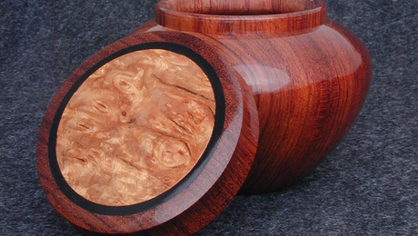 Bubinga Ginger Jar with Maple Burl and Ebony Inlay - Open