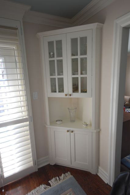 Dining Room Corner Cabinet Designed And Built For Clients. Photo
