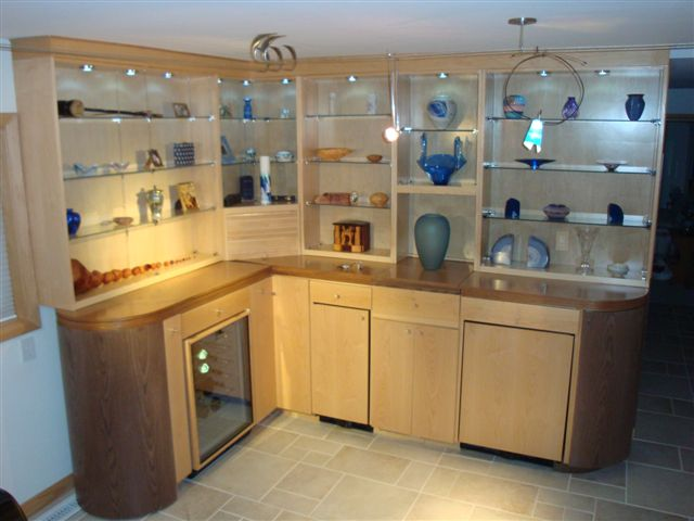 Retracting bar and art display cabinet - FineWoodworking