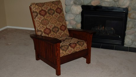 Morris chair with cloth upholstery