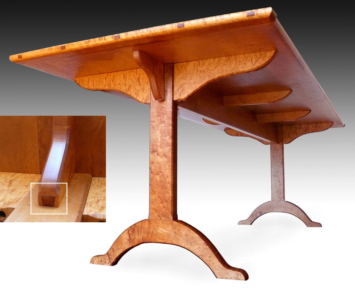 fine woodworking dining room tables. shaker dining table, birdseye maple fine woodworking room tables b