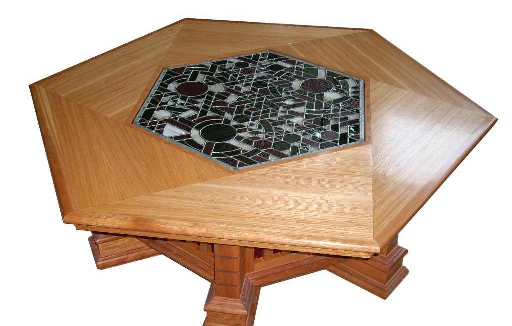 Hexagonal Coffee Table With Stained Glass Top Finewoodworking