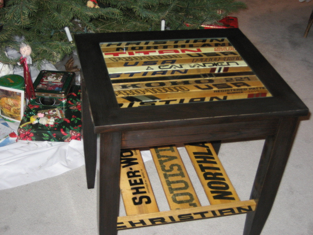Hockey Stick And Oak End Tables