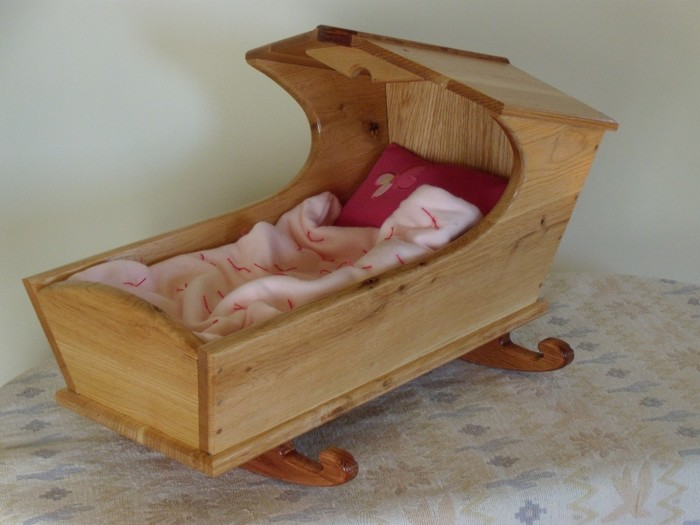 Article Image Oak And Cherry Doll Cradle
