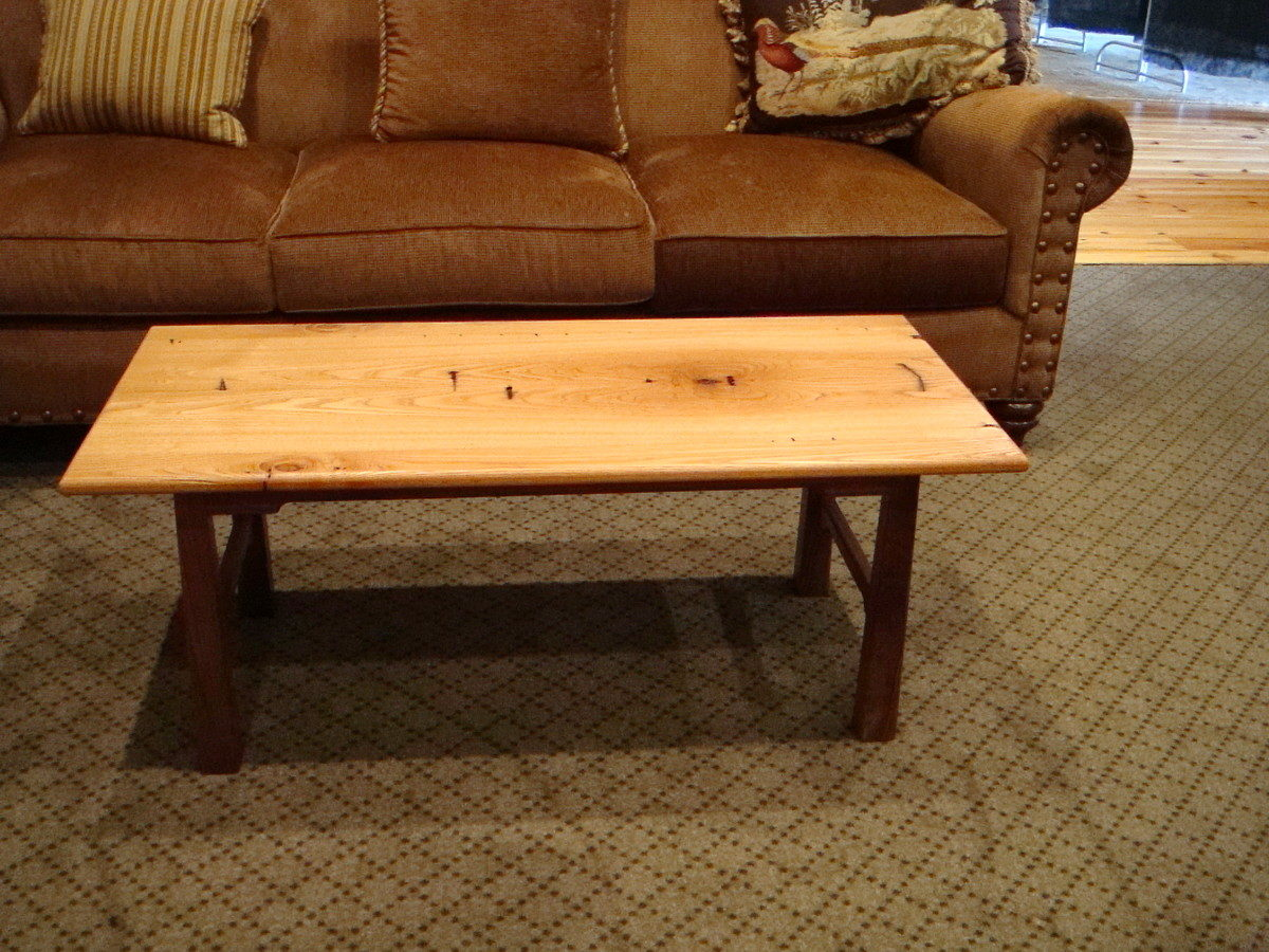 Captivating Coffee Table Made From Wormy Chestnut Joists And Rafters Recycled From A  100 Year Old Building. The Base Is Black Walnut.