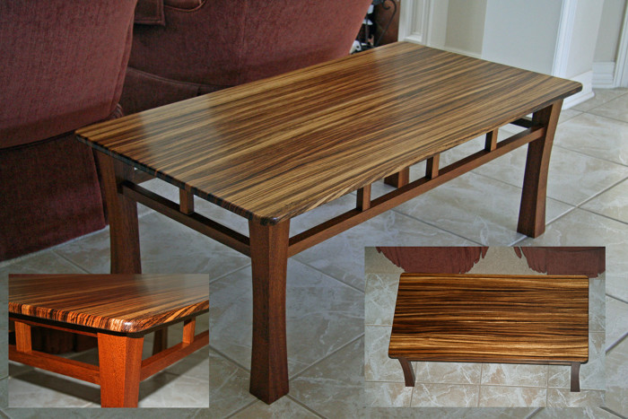 zebrawood table - finewoodworking