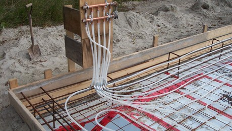 in floor radiant heat pipe, where the header will be