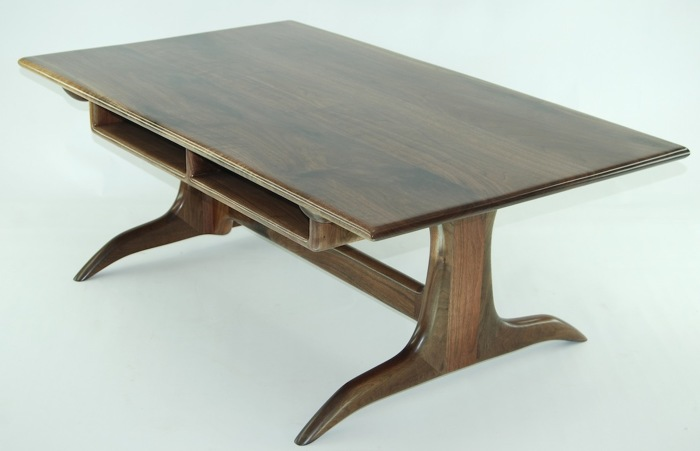 This sculpted coffee table was designed by us but heavily influenced by the  design of Sam Maloof. Built from solid Walnut, all joints have been  reinforced ... - Walnut Trestle Coffee Table - FineWoodworking