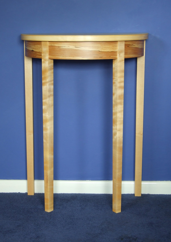 Great This Small Hall Table (80 Cm High X 60 Cm Wide) Is Made Of Ripple Sycamore,  With A Curved Apron Of Brick Built Lime Veneered With Spalted Beech.