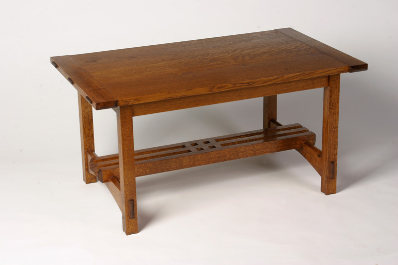 Good Arts U0026 Crafts Style Coffee Table Of White Oak With Wenge Accents.
