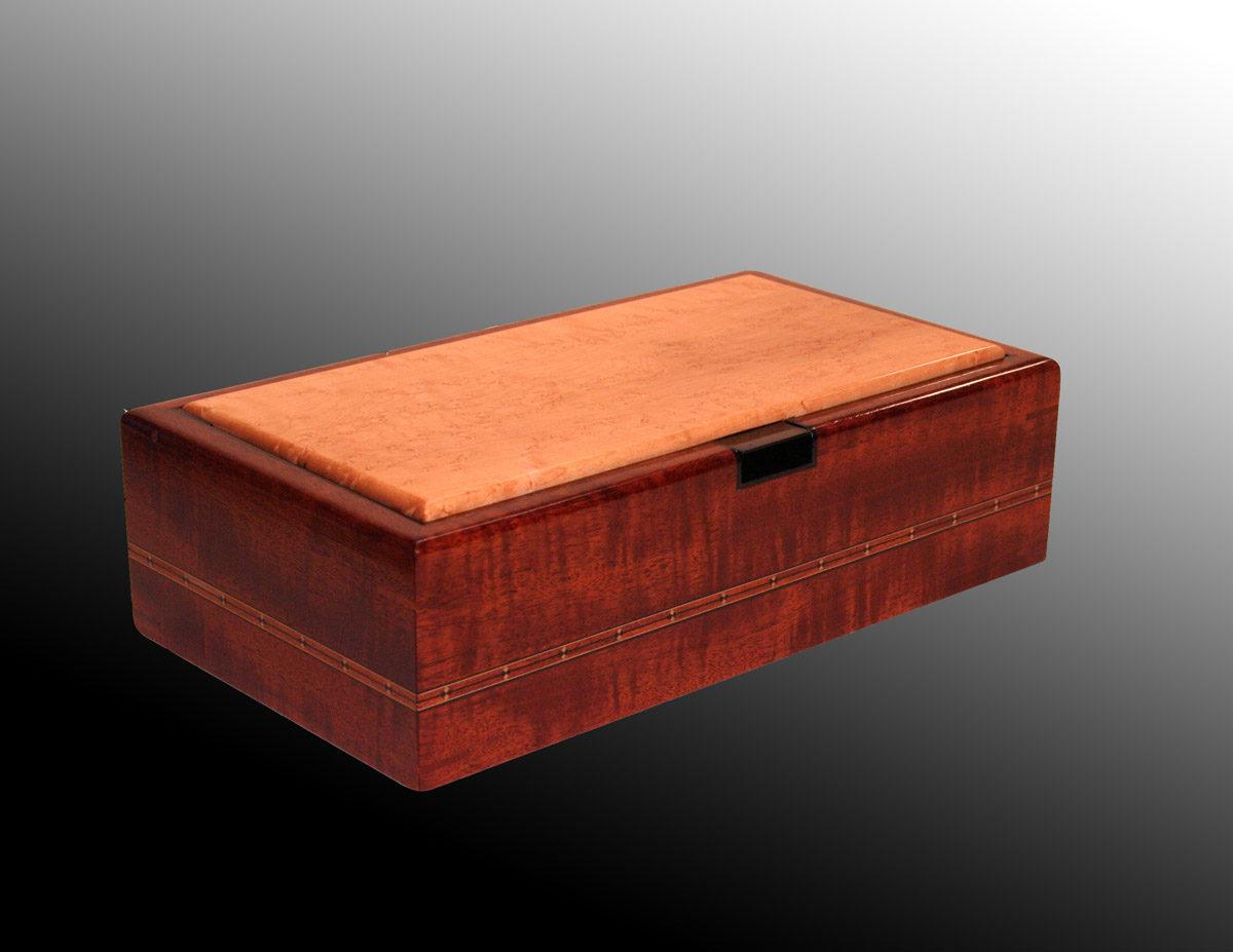 Spline-miter box made of Honduras mahogany, bird's-eye-maple, Gabon ...