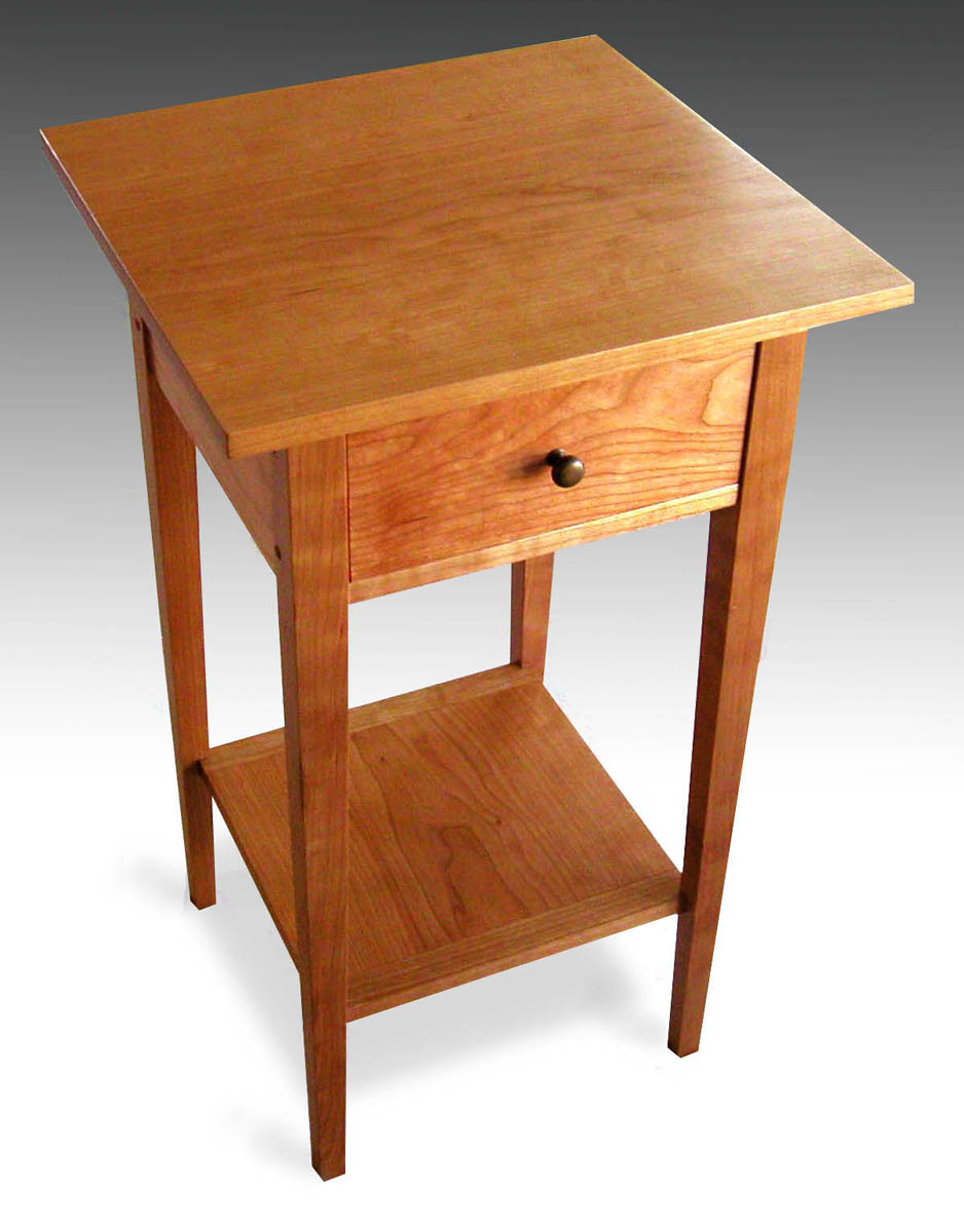 Three shaker end tables with shelf cherry finewoodworking for Latest side table designs