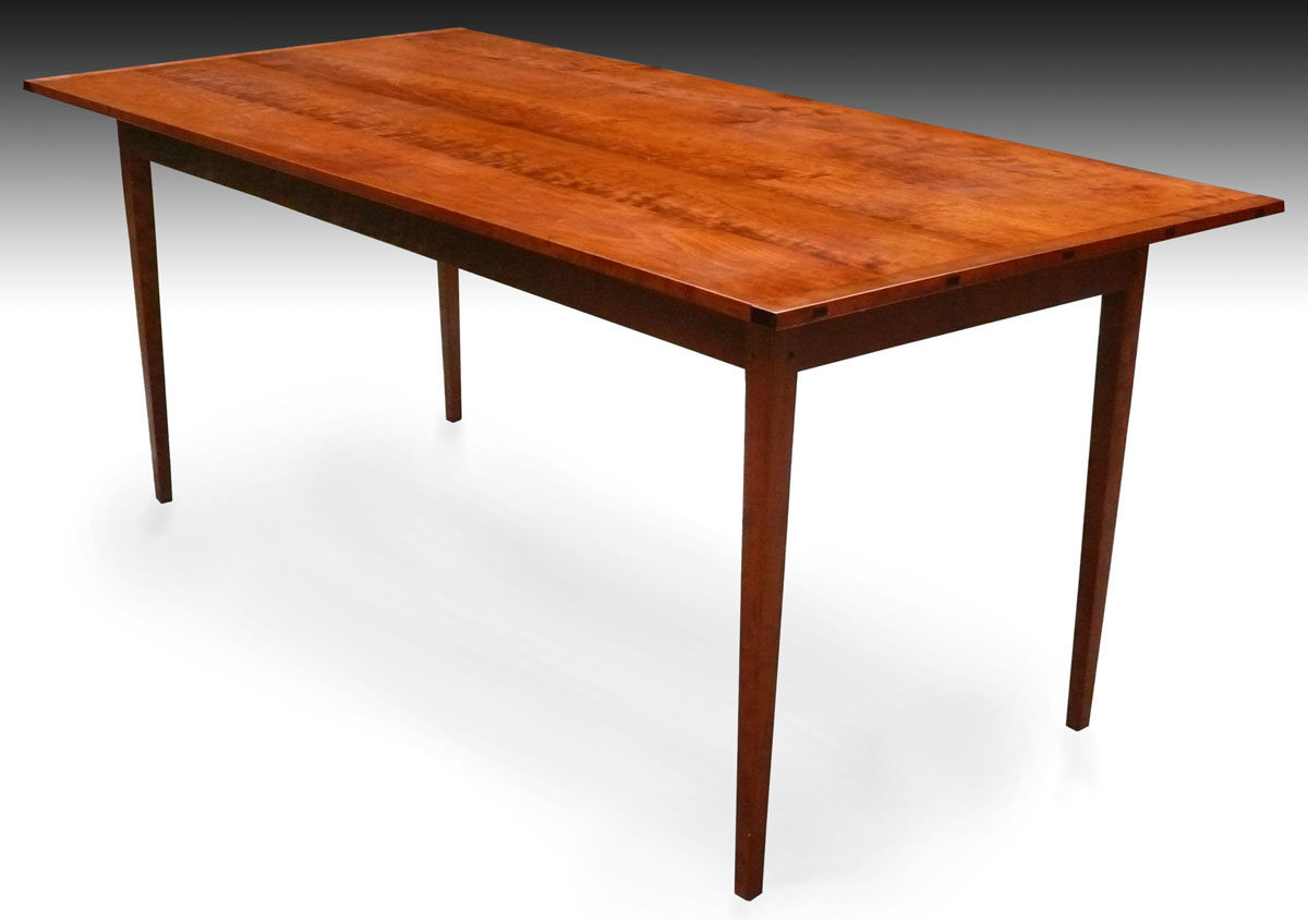 Shaker tapered leg dining table cherry finewoodworking for Cherry dining table
