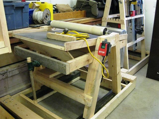 oak table and home built drum sander finewoodworking