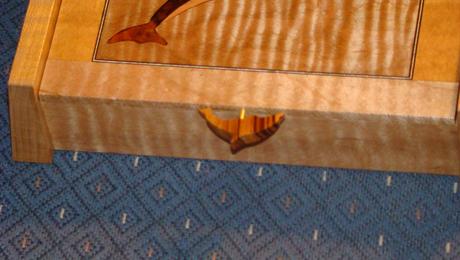 Marquetry Box - Dolphin Zebra wood handle